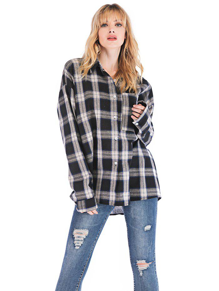 Latest Women's Blouse Plaid Thin Loose Casual Long Sleeve