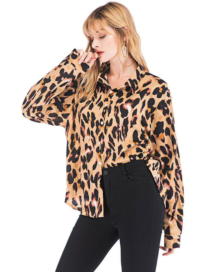 Latest Women's Blouse Leopard Fashion Wild Long Sleeve