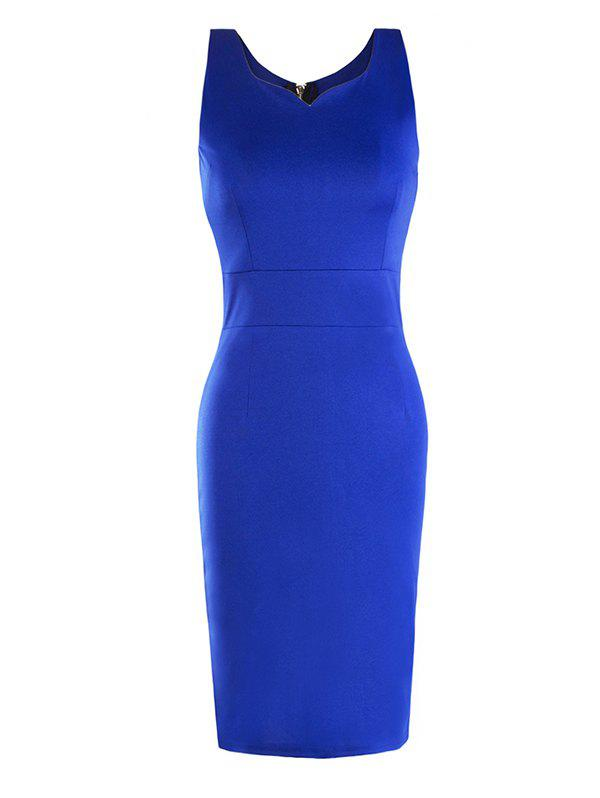 New Female Sleeveless Zipper Slim Dress