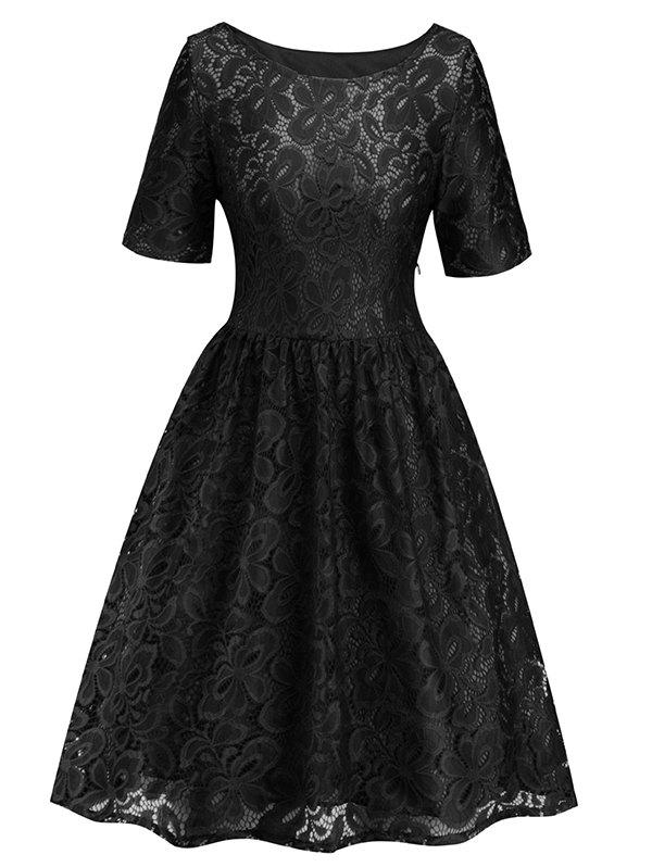 Hot Women's Dress Fashion Round Neck Lace