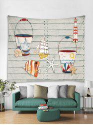 Wooden Starfish Printed Tapestry Art Decoration -