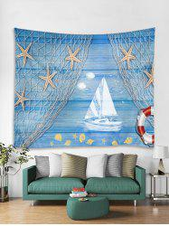 Starfish Wooden Boat Printed Tapestry Art Decoration -