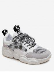 Striped Lace Breathable Mesh Sneakers -