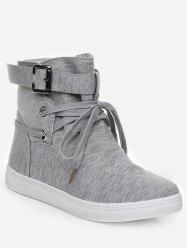 Lace Up Canvas Ankle Boots -