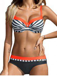 Female Fashion Stripe Steel Plate Gathered Swimsuit -