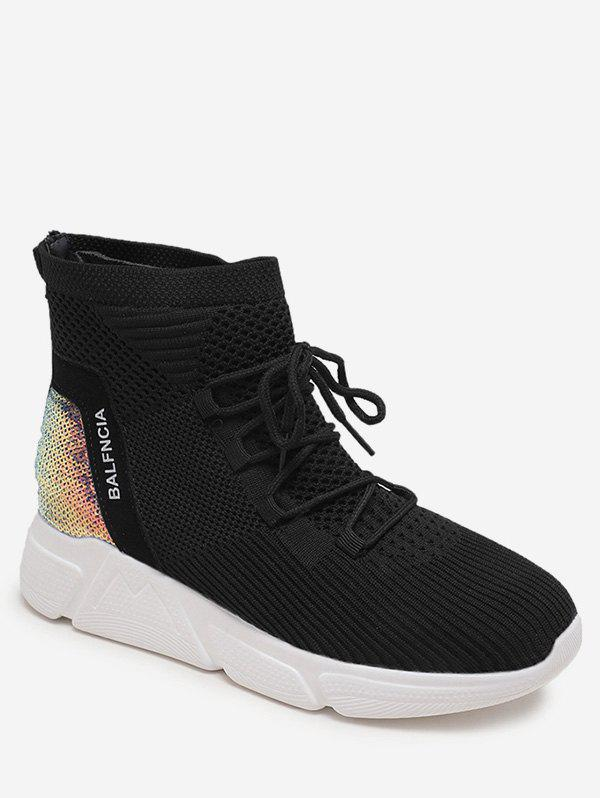 Buy Sequined Panel Lacing Sneaker Boots
