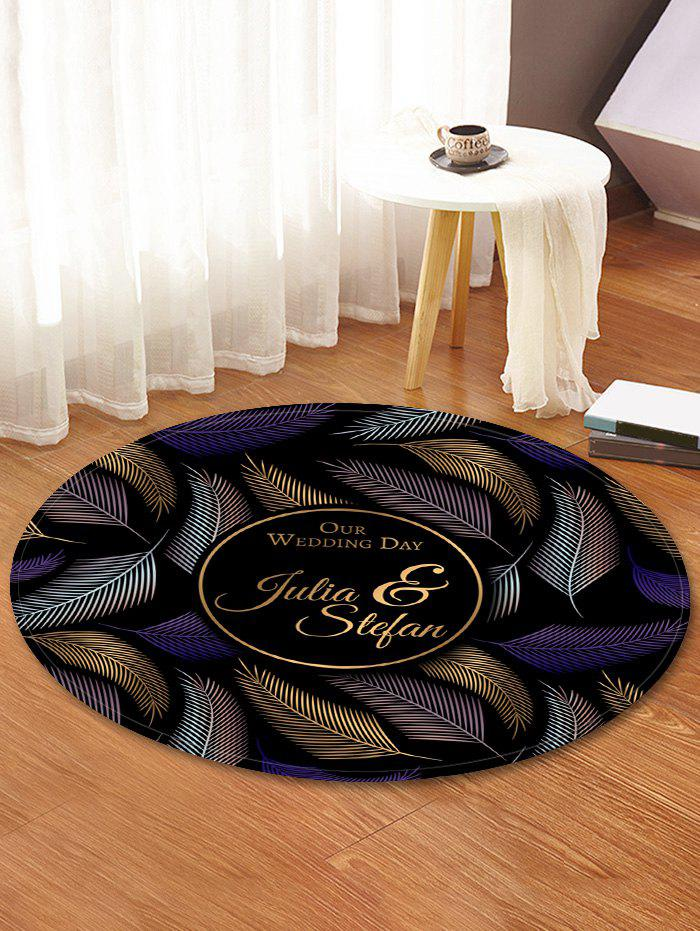 Unique Leaf and Letter Pattern Round Floor Flannel Rug