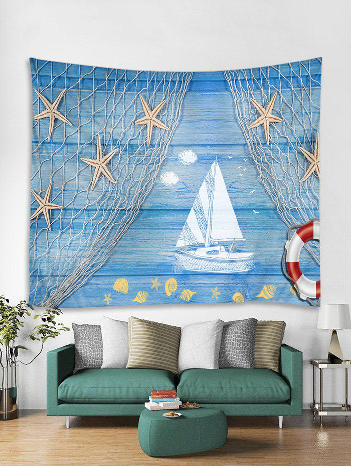 Chic Starfish Wooden Boat Printed Tapestry Art Decoration