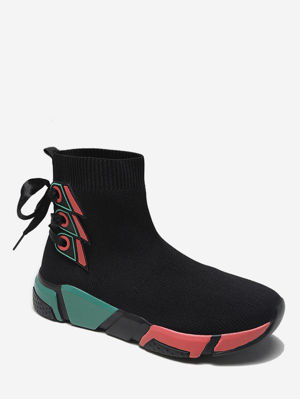 Latest Tie Back Color Block Sneaker Boots