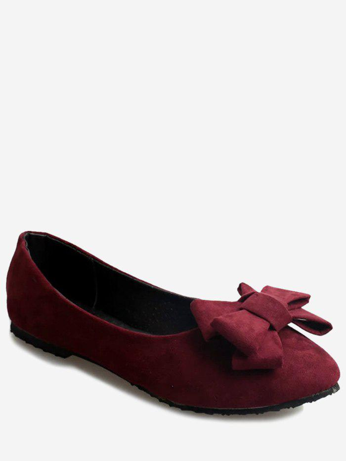Discount Pointed Toe Bowknot Slip On Flats