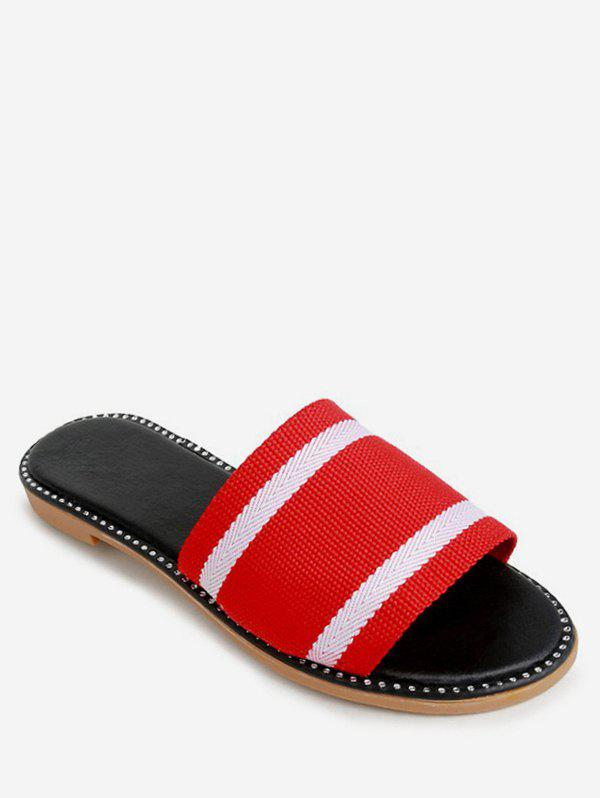 Chic Two Tone Striped Slippers
