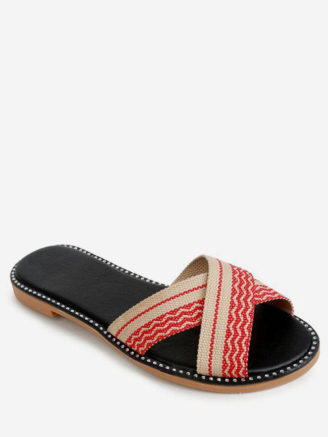 Discount Striped Crisscross Strap Slippers