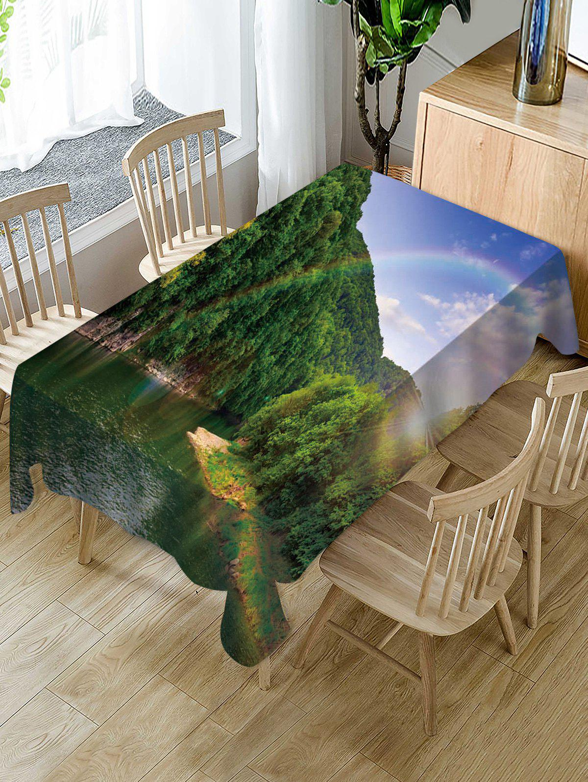 Best Mountains Rainbow Print Fabric Waterproof Tablecloth