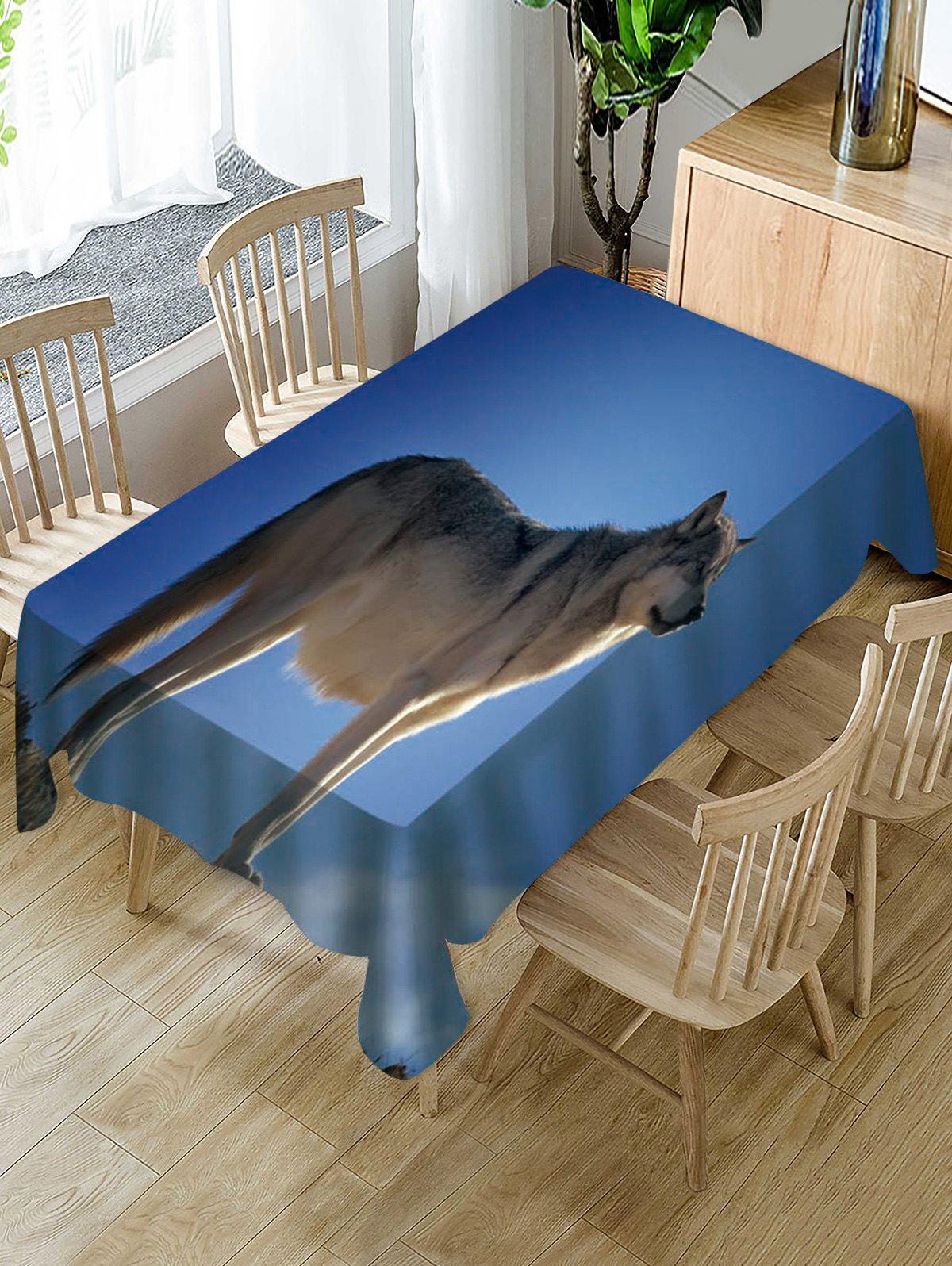 Chic Wolf Print Fabric Waterproof Tablecloth