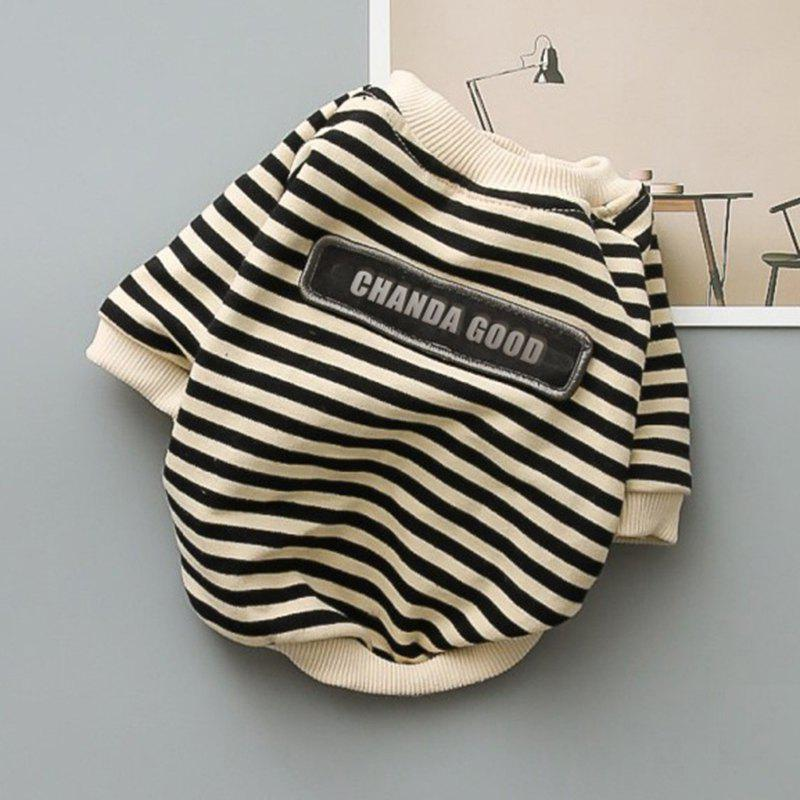 Latest SQ11301 Round Neck Striped Terry Tide Dog Sweater
