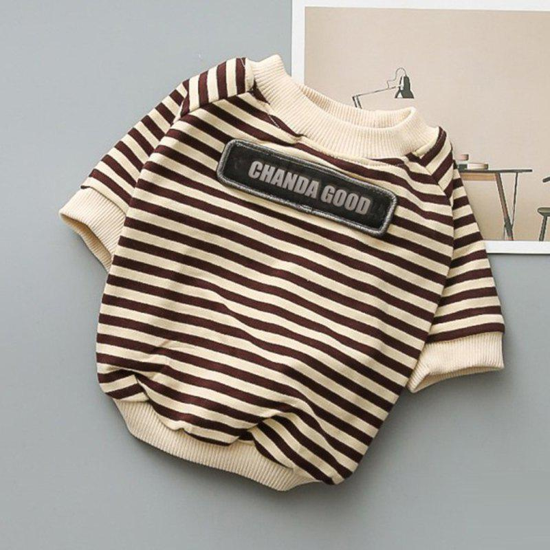 Online SQ11301 Round Neck Striped Terry Tide Dog Sweater