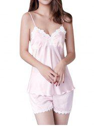 GH - YX909 Women's Colorblock Lace Sling Pajama Set -