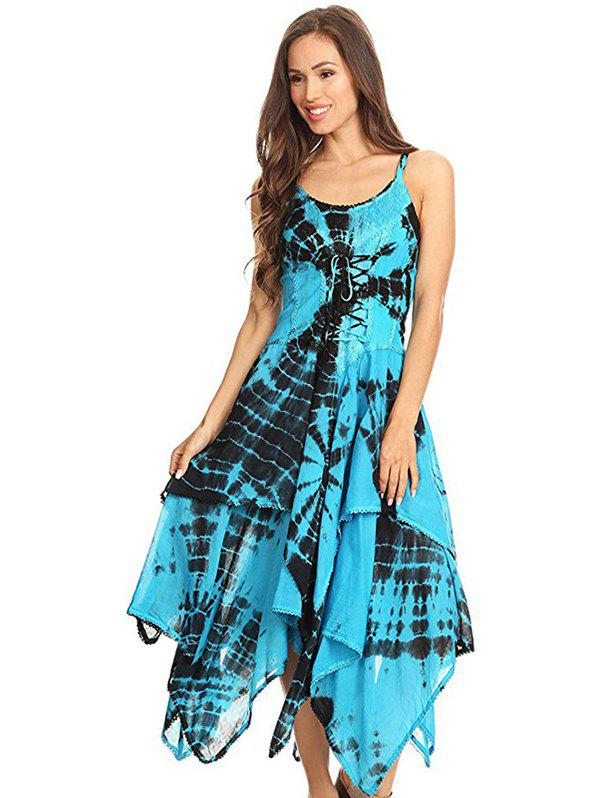 Latest Printed Laced Irregular Strap Dress