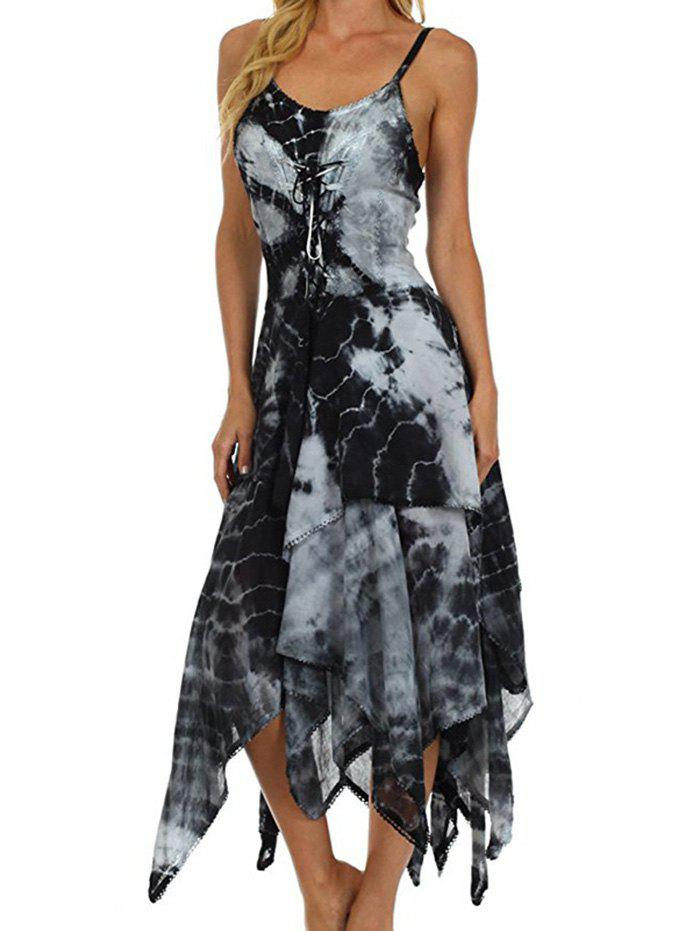 Outfits Printed Laced Irregular Strap Dress
