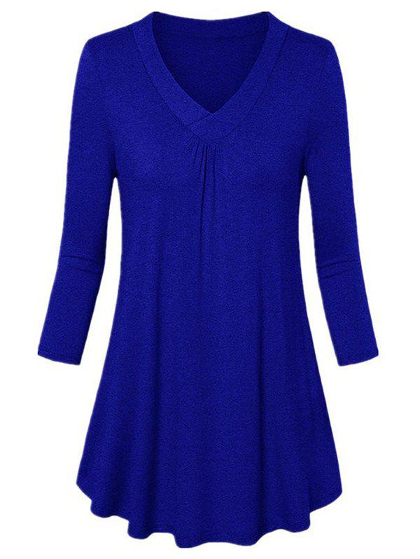 Best V-neck Long-sleeved Shirt Loose Pleated T-shirt