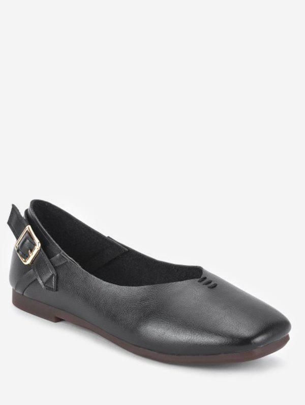 Store Square Toe Buckle Slip On Shoes