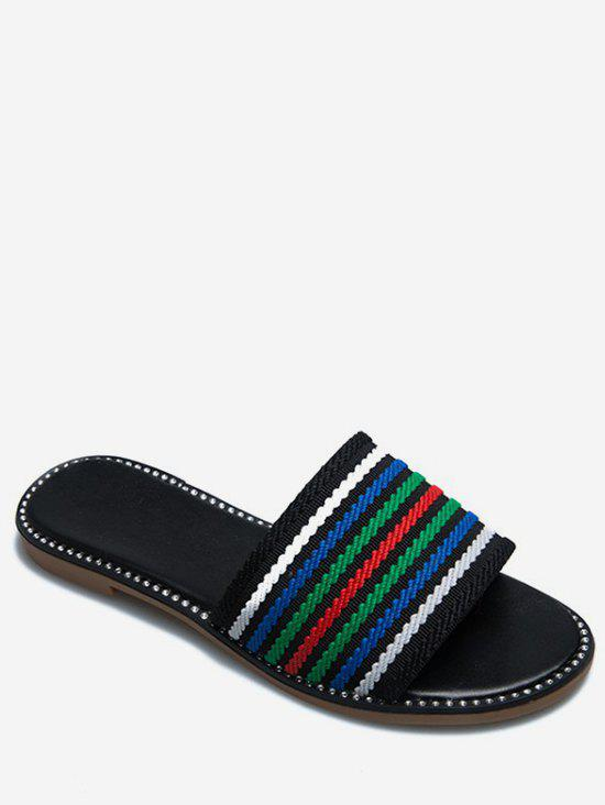 New Multicolor Striped Slippers
