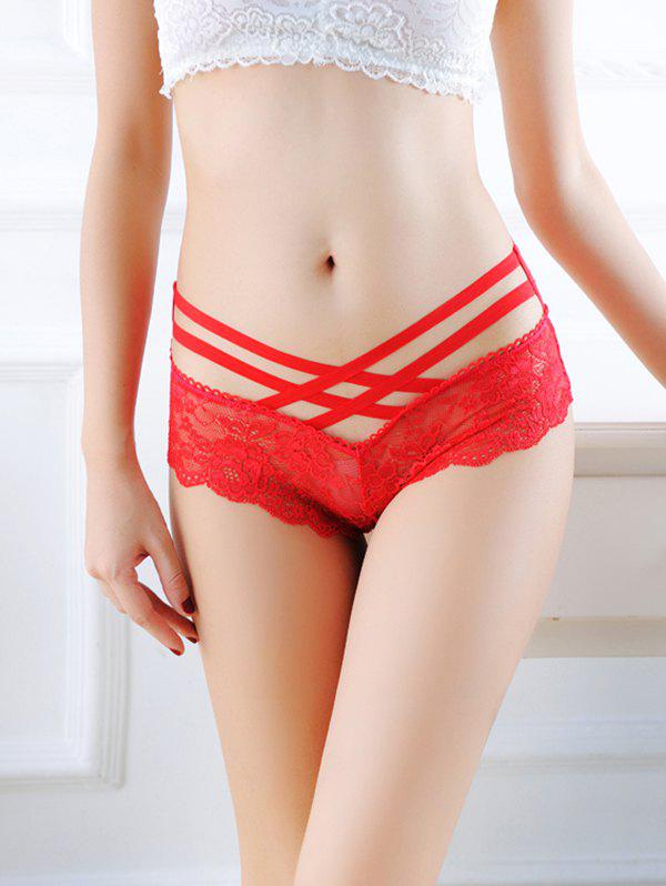 8033 Slips sexy en dentelle taille basse Rouge Taille Unique