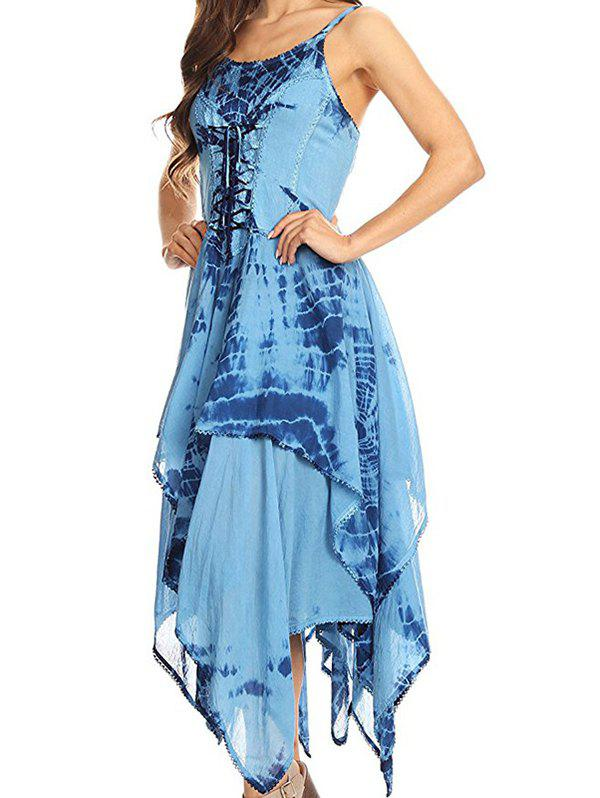Outfit Printed Laced Irregular Strap Dress