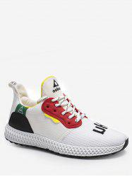 Color Block Embroidery Running Sneakers -