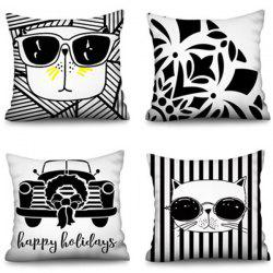 Polyester Happy Ho Square Cat Family Digital Printing Pillowcase -