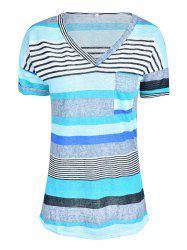 Women Stylish Pocket Striped Short Sleeved Tee -