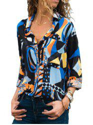 X0070 Pocket Geometric Print Fashion Blouse -