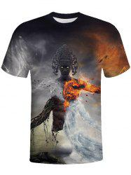 3D Round Neck Short-sleeved Man T-shirt -