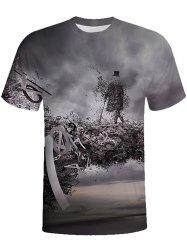 3D Round Neck Short-sleeved T-shirt -