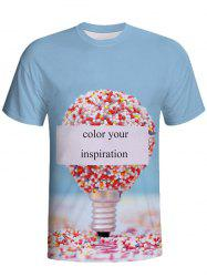 3D Printed Round Neck Short-sleeved T-shirt -