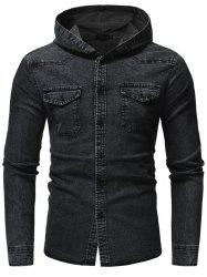 Fashion Washed Men's Casual Slim Long-sleeved Hooded Denim Shirt -