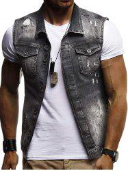 Men's Casual Sleeveless Denim Jacket Vest -