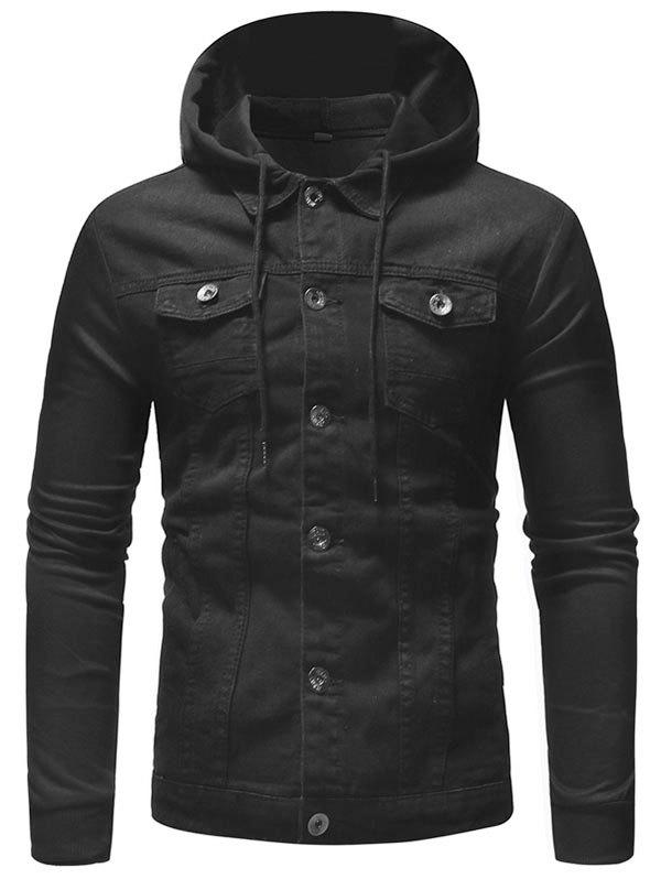 Cheap Knit Hooded Design Men's Casual Denim Jacket