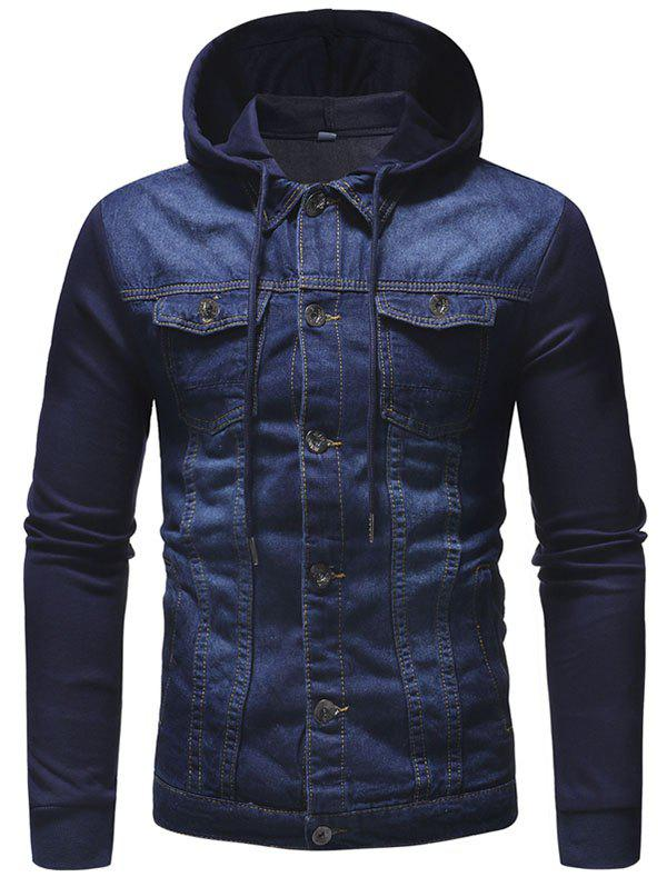 Outfits Knit Hooded Design Men's Casual Denim Jacket