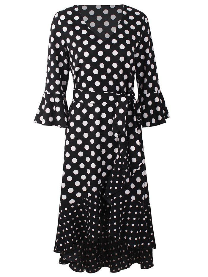 Fancy X007 Women Dotted Stitching Ruffle V-Neck Dress