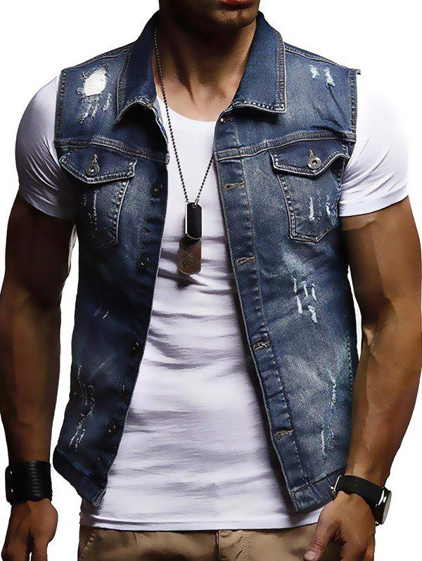 Chic Men's Casual Sleeveless Denim Jacket Vest