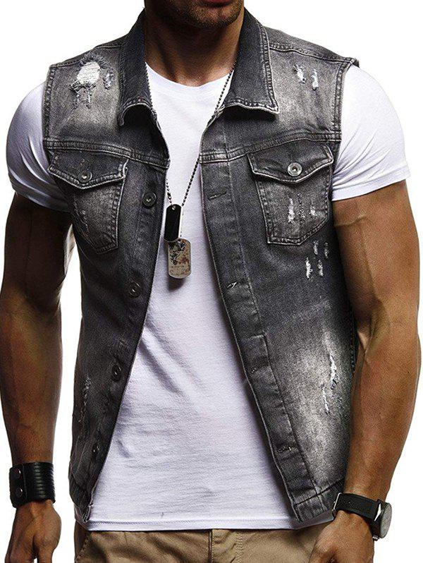 Sale Men's Casual Sleeveless Denim Jacket Vest
