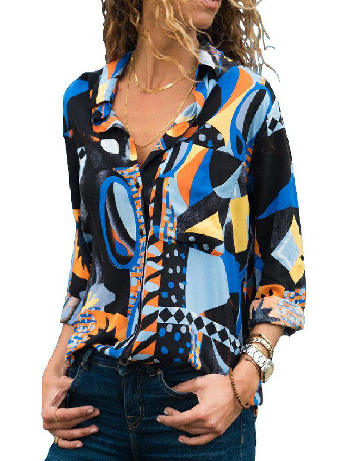 Online X0070 Pocket Geometric Print Fashion Blouse