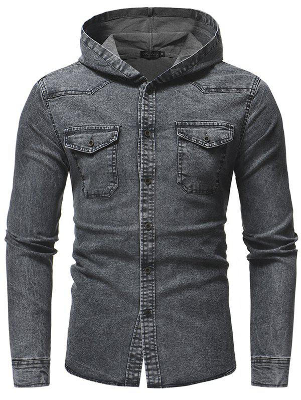 Online Fashion Washed Men's Casual Slim Long-sleeved Hooded Denim Shirt