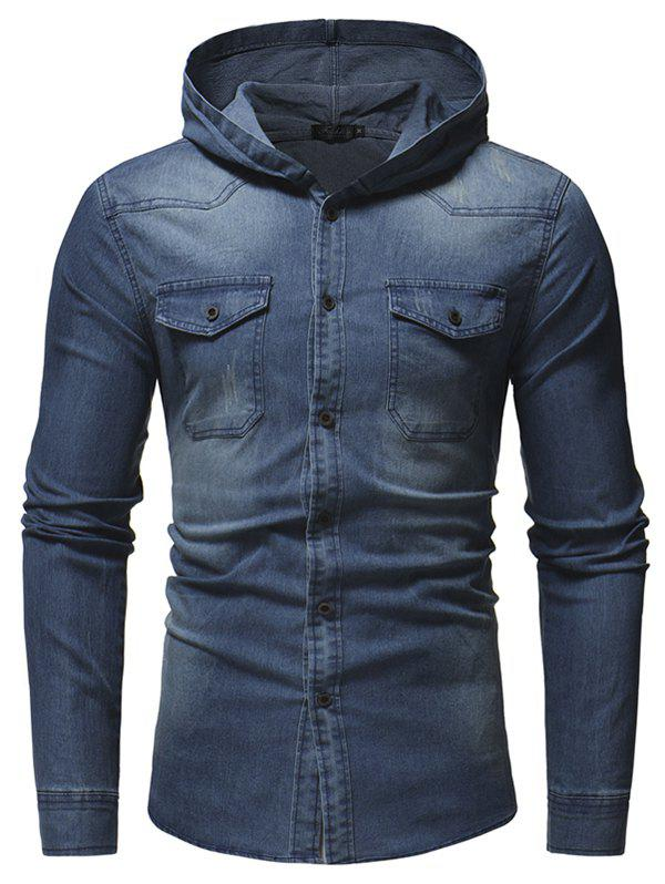 Trendy Fashion Washed Men's Casual Slim Long-sleeved Hooded Denim Shirt