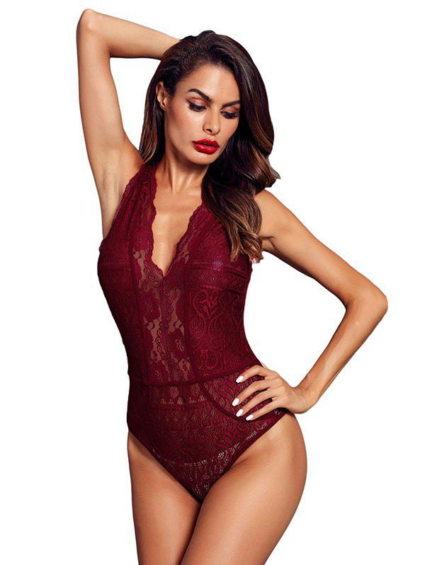 Online Women V Neck Hollow-out Lace Bodysuit