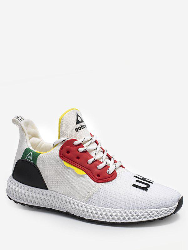 Chic Color Block Embroidery Running Sneakers