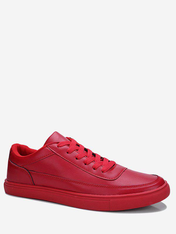 Chic Solid Tie Up Skate Sneakers
