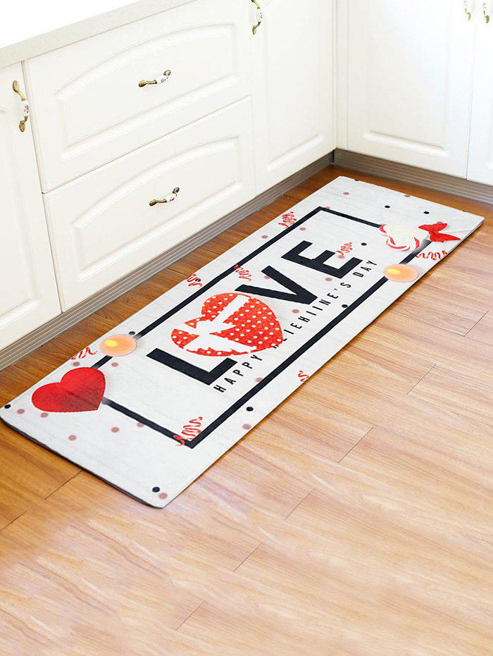 Online Valentines Day LOVE Heart Pattern Water Absorption Area Rug