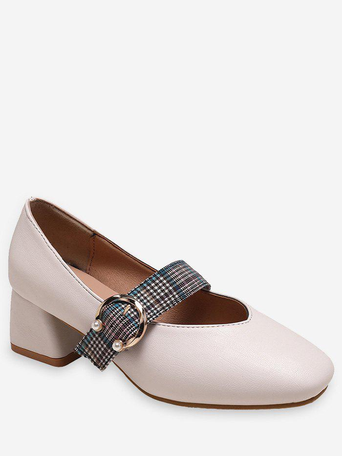 New Plaid Strap Square Toe Heeled Shoes